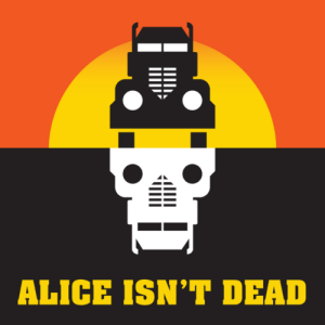 Alice Isn't Dead Logo - A semi drives into a setting sun in the top half of the square, the bottom half is black with a reverse of the semi in white, resembling a skull.